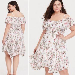 Torrid floral cold shoulder gauze dress 4X